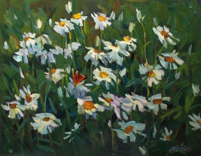 Wild camomile - Painting,  13x17.7 in, ©2012 by Juliya ZHUKOVA -                                                                                                                                                                                                                                                                                                                                                                                                                                                                                              Figurative, figurative-594, camomile, flowers, bouquet, flowers on grass, white camomile, oil, plein air, original