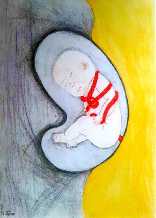 """Painting titled """"fetus"""" by Zieh Mazinani, Original Art, Pencil"""