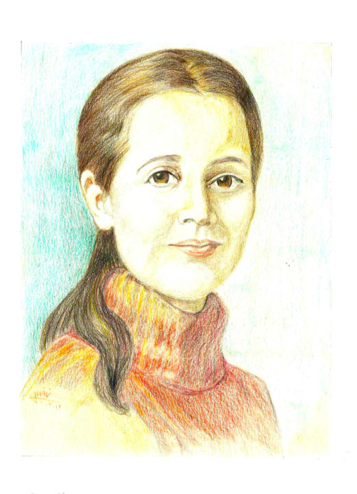 """Painting titled """"Middle-aged lady"""" by Zieh Mazinani, Original Art, Pencil"""