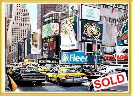 """Painting titled """"Times Square."""" by Ole Ziger, Original Art,"""
