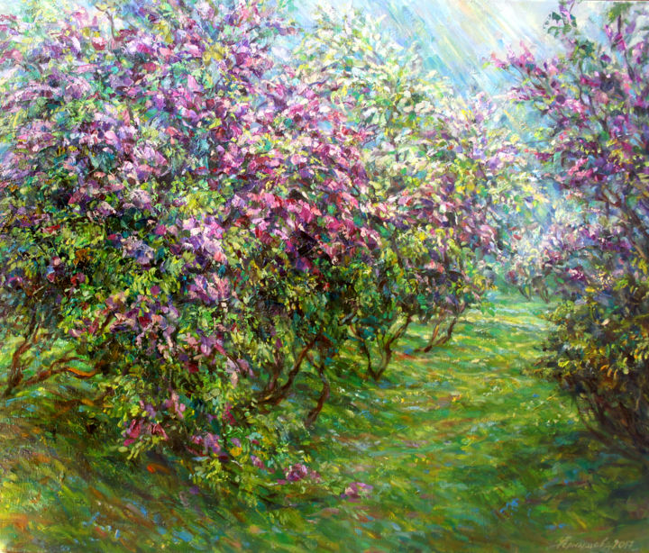 Lilac in the rain. - Painting,  27.6x31.5 in, ©2017 by Zinaida Chernyshova -                                                                                                                                                                                                                                                                                                                                                                                                                                                                                                  Impressionism, impressionism-603, Seasons, Nature, Garden, Flower, lalic, rain, spring, garden