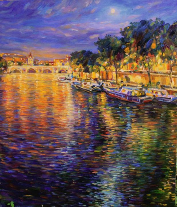 Full moon in Paris - Painting,  27.6x21.7 in, ©2018 by Zinaida Chernyshova -                                                                                                                                                                                                                                                                                                                                                          Impressionism, impressionism-603, Architecture, Water, Cities, Cityscape, Landscape