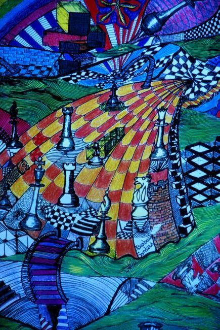 """Drawing titled """"The Game of Chess"""" by Zita Barbara Sanders, Original Art,"""