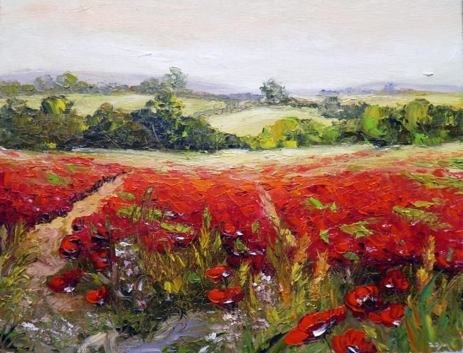 FIELD OF POPPIES 3 - Painting,  25x35 cm ©2012 by ZOJA -            Zoran Zivotic, zoja, fine art