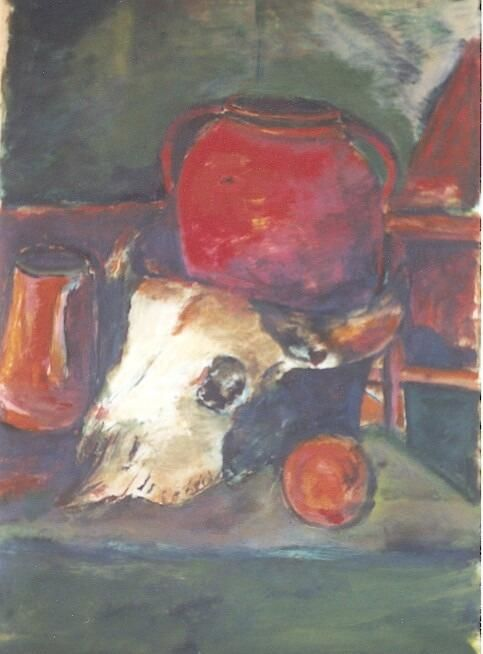 crâne de buffle et pot rouge - Painting ©2006 by Ziya Aydin -