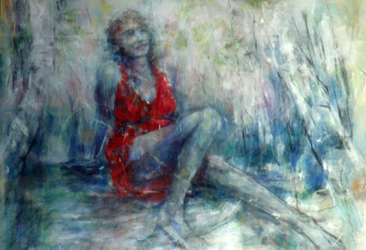 Im - Painting,  27.6x39.4x1.6 in, ©2014 by Zlata Maksimovic -                                                                                                                                                                          Expressionism, expressionism-591, Women