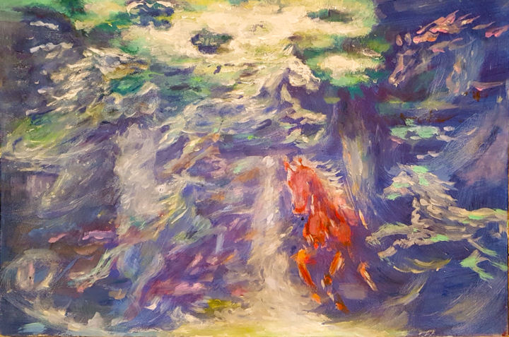 Six horses and one angel - Painting,  13.8x19.7x1.2 in, ©2018 by Zlata Maksimovic -                                                                                                                                                                                                                                                                                                              Expressionism, expressionism-591, Angels, Animals, Colors, Horses