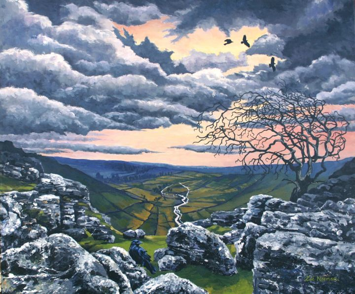 """Painting titled """"Malham Heights"""" by Zoe Norman, Original Art, Acrylic Mounted on Stretcher frame"""