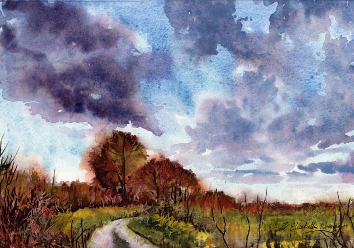 """Painting titled """"Autumn Sky"""" by Zoe Norman, Original Art, Watercolor"""