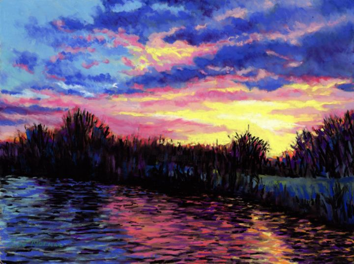 """Painting titled """"Sunset Over The Nor…"""" by Zoe Norman, Original Art, Pastel"""