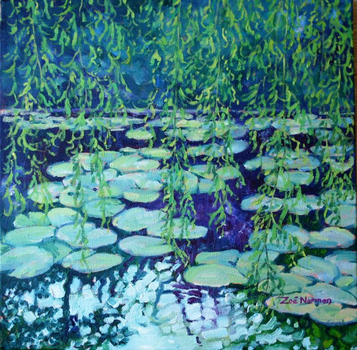 """Painting titled """"Willows and Water L…"""" by Zoe Norman, Original Art, Oil"""