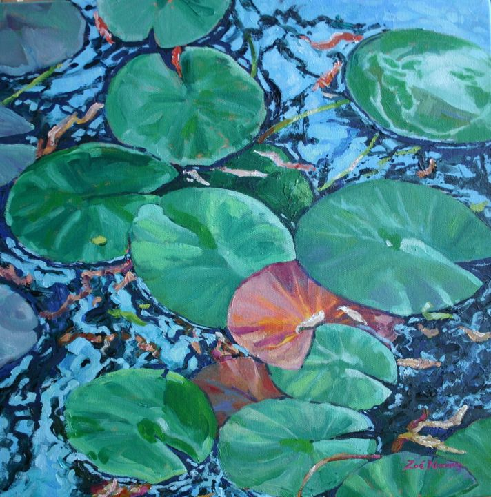 """Painting titled """"Water Lily Pads"""" by Zoe Norman, Original Art, Oil"""