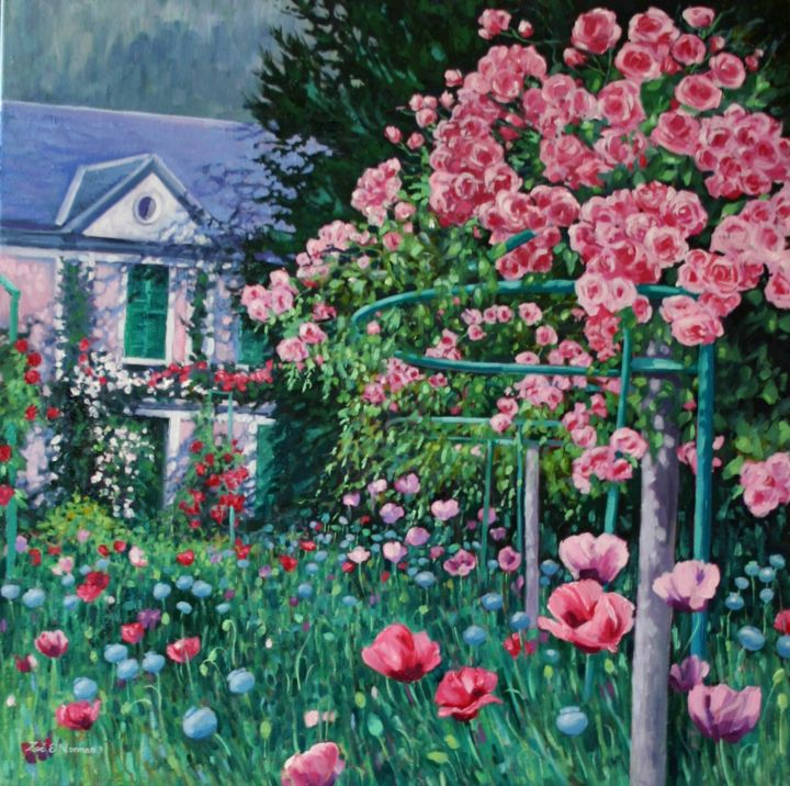 """Painting titled """"Monet's Roses."""" by Zoe Norman, Original Art, Oil Mounted on Stretcher frame"""