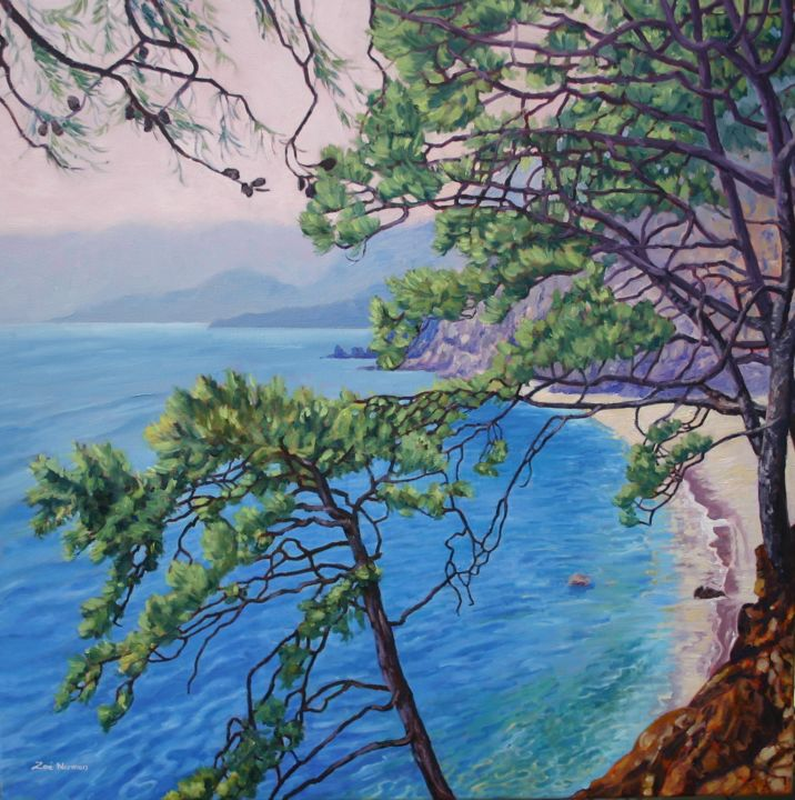 """Painting titled """"Mediterranean Heigh…"""" by Zoe Norman, Original Art, Oil Mounted on Stretcher frame"""
