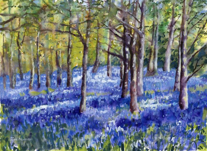 """Painting titled """"Bluebell Impressions"""" by Zoe Norman, Original Art, Watercolor"""