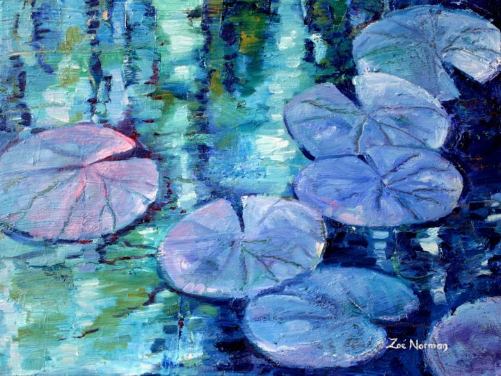 """Painting titled """"Blue Nympheas"""" by Zoe Norman, Original Art, Oil Mounted on Stretcher frame"""