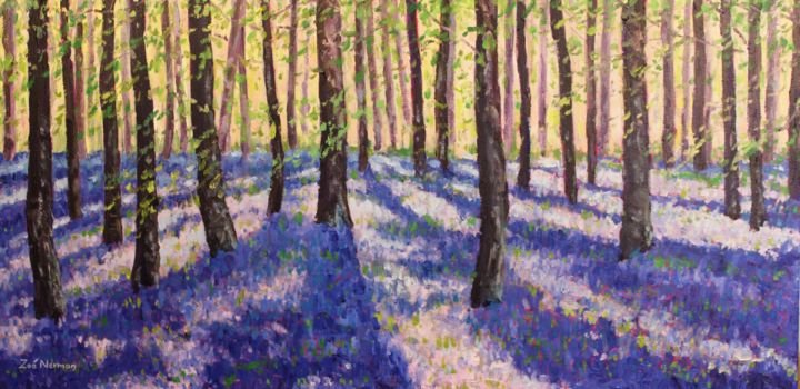 """Painting titled """"Hazy Bluebells"""" by Zoe Norman, Original Art, Oil Mounted on Stretcher frame"""