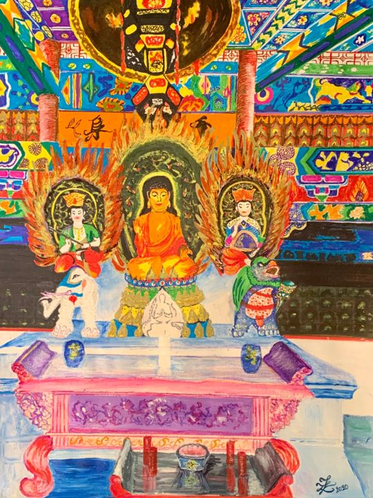 """Drawing titled """"Temple Bouddhiste P…"""" by Zoé Valy, Original Art, Marker Mounted on Glass"""