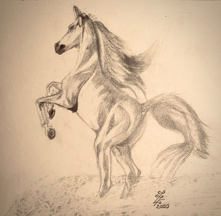Espérance - Dessin,  7,1x8,3 in, ©2020 par Zoé Valy -                                                                                                                                                                                                                                                                                                                                                          Figurative, figurative-594, animaux, cheval, dessin, crayon, zoe valy