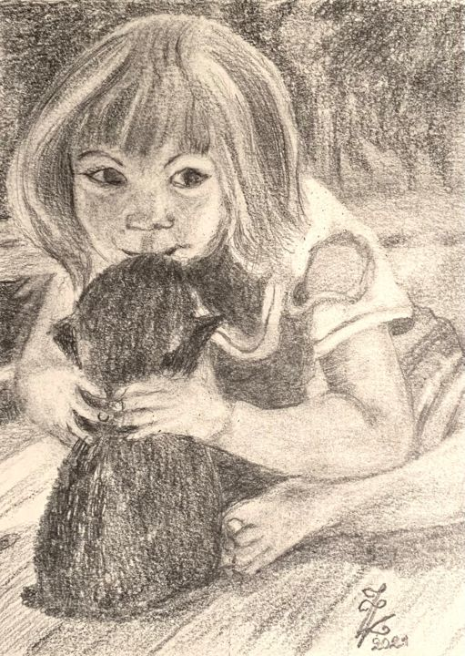 """Drawing titled """"Scarlett Tendresse"""" by Zoé Valy, Original Art, Pencil"""