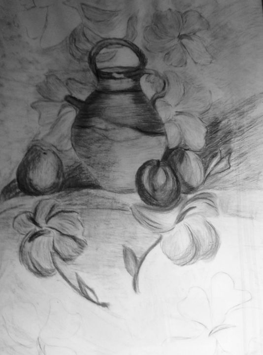 """Drawing titled """"La cruche"""" by Zoé Valy, Original Art, Charcoal Mounted on Cardboard"""