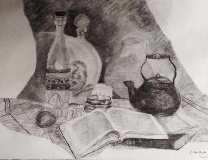 """Drawing titled """"Le livre"""" by Zoé Valy, Original Art, Charcoal Mounted on Cardboard"""