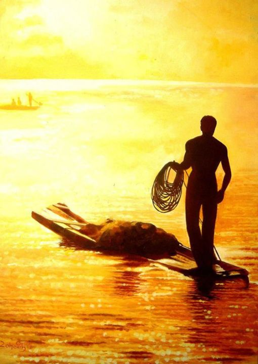 """Painting titled """"Fisherman in Sunset"""" by Zohaib Ahmed Zohaib, Original Art, Acrylic"""