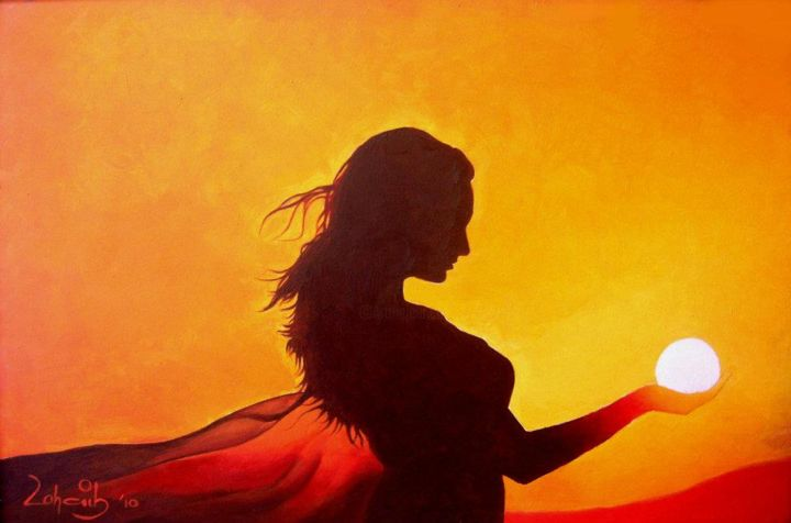 """Painting titled """"Beautiful Girl in S…"""" by Zohaib Ahmed Zohaib, Original Art, Acrylic"""