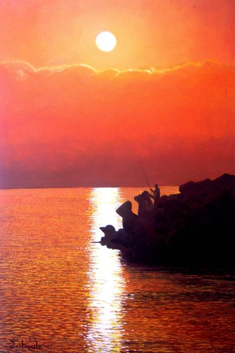 """Painting titled """"Fishing in Sunset"""" by Zohaib Ahmed Zohaib, Original Art, Acrylic"""