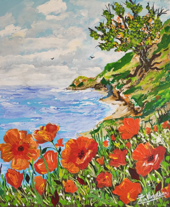 """Painting titled """"Poppies by the sea"""" by Artzoia  Zoia Vlascitkaia, Original Art, Acrylic"""