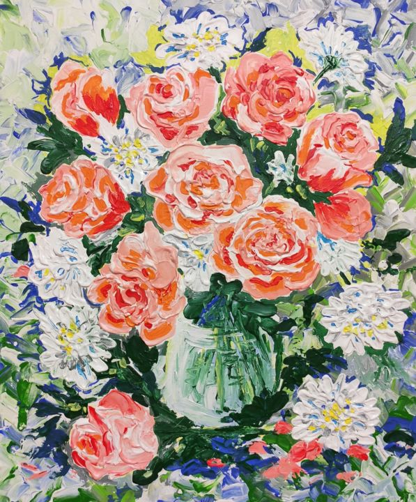 """Painting titled """"Bouquet of tenderne…"""" by Artzoia  Zoia Vlascitkaia, Original Art, Acrylic"""