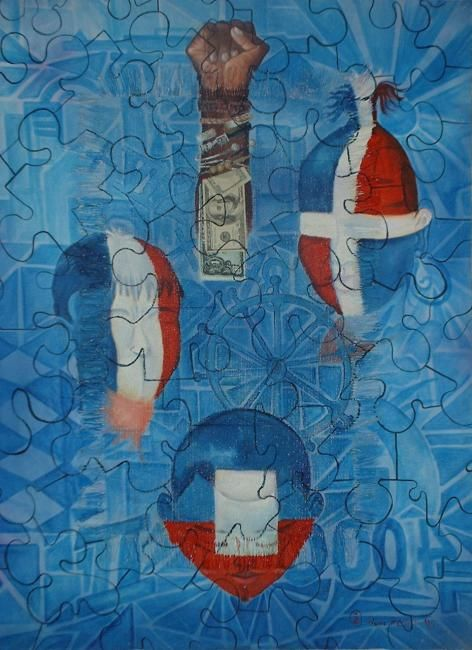 Puzzle - Painting,  40x30 in ©2004 by Zomo -                            Art Nouveau, dette entre Haïti et la France