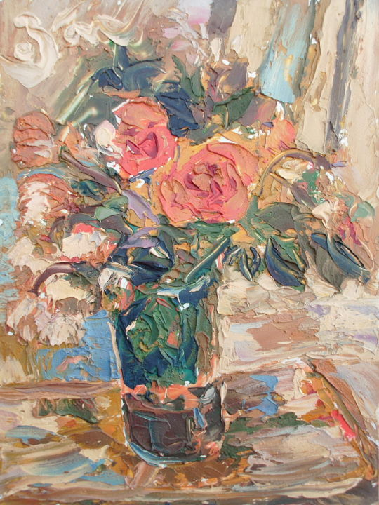 """Painting titled """"Roses in a vase"""" by Zoran Andrić, Original Art, Oil"""