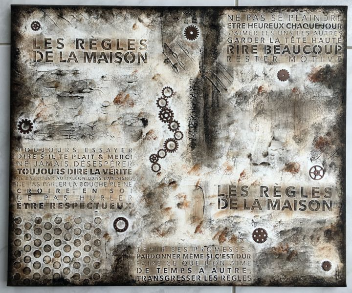 tableau de peinture de style industriel - Painting,  40x50x1.8 cm ©2017 by Sandrine Hartmann -            industriel, engrenage, fait main, original, reliefs, art, france