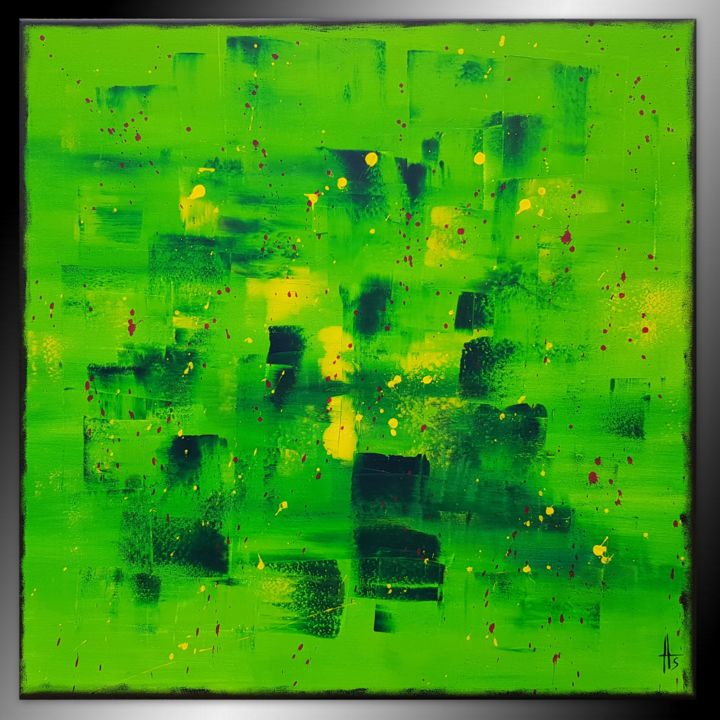 MAKI - Painting,  80x80x2 cm ©2018 by Sandrine Hartmann -                            Abstract Art, art, carré, france, unqiue, original, vert, coloré, abstrait, peinture