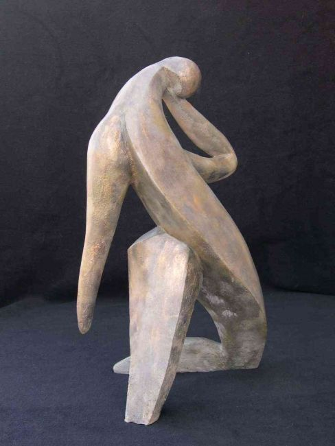 optimisme - Sculpture,  45x25x25 cm ©2007 by ZOU -            sculpture resine couleur gris ou bleu disponible
