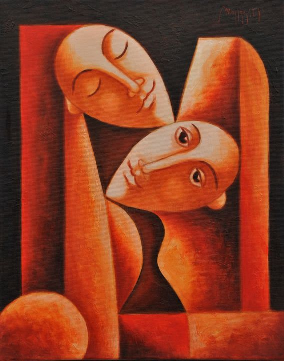 """Painting titled """"Pure love"""" by Zsolt Malasits, Original Art, Oil"""