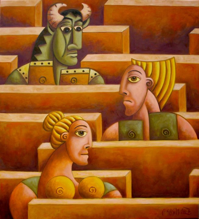 """Painting titled """"Labyrinth of life"""" by Zsolt Malasits, Original Art, Oil"""