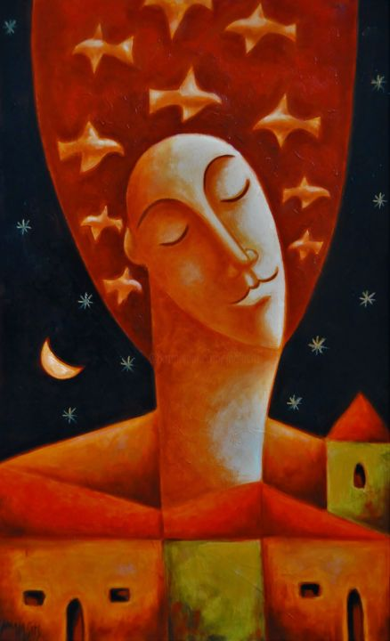 """Painting titled """"Flying thoughts"""" by Zsolt Malasits, Original Art, Oil"""