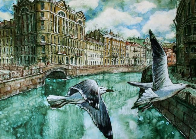 Be beautiful, Petersburg - Drawing,  58x82 cm ©2012 by Aleksey Zuev -            Painting with the reflection of the city