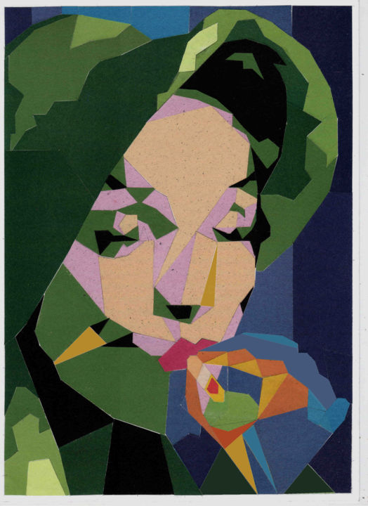 Marlene Dietrich Applique - Collages,  11.4x8.3 in, ©2020 by Алексей Зуев -                                                                                                                                                                                                                          Cubism, cubism-582, Celebrity, Marlene Dietrich