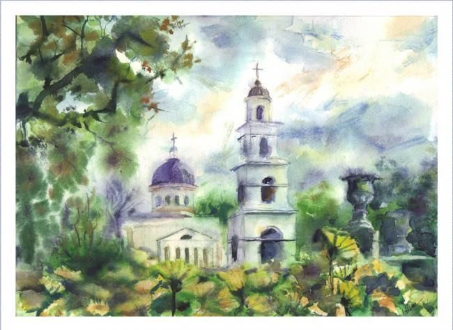 """Painting titled """"the cathedral"""" by Irina Zaytchenko, Original Art,"""