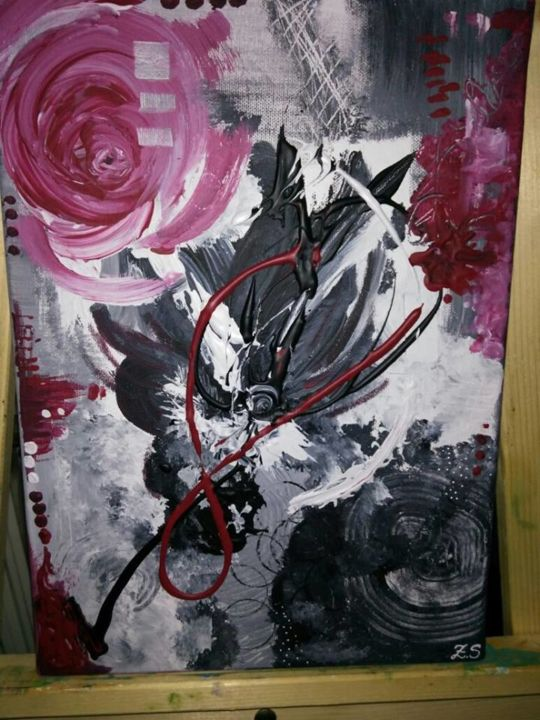 Red Black And White Painting