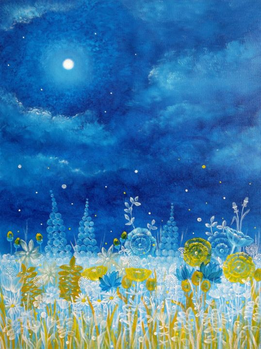 """Painting titled """"Meadow in fullmoon"""" by Zuzana Šmehylová, Original Art, Oil"""