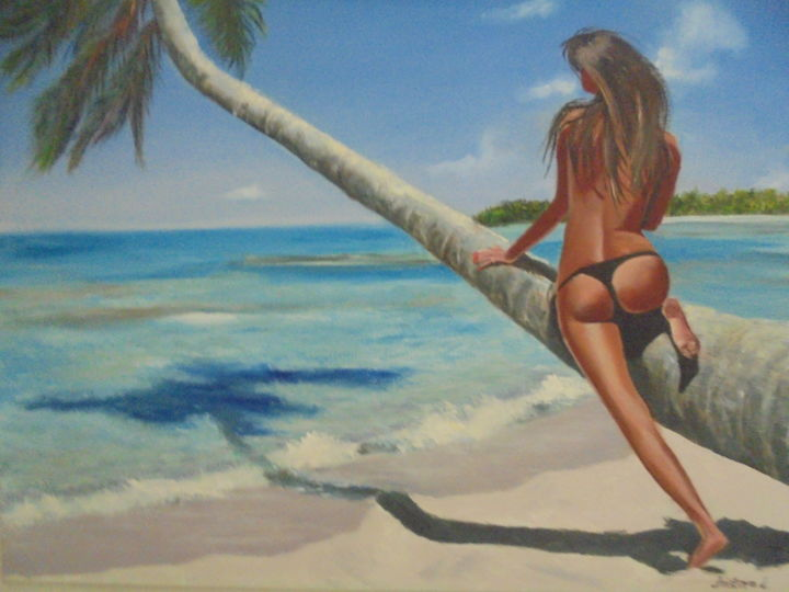 Nice view - Painting,  23.6x31.5x0.8 in ©2019 by liubov aristova -                                                                                                        Expressionism, Realism, Tree, Landscape, Nude, Nature, Women, paradise beach, tropical, erotic, naked, beautiful girl, tropical island, palm trees, sun, ocean, sea, white sand, bikini, monokini