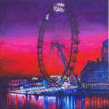 """Painting titled """"The Wheel London Ci…"""" by Patricia Clements Art, Original Art, Acrylic Mounted on Stretcher frame"""