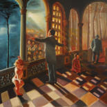 """Painting titled """"The great passage"""" by Adina Lupan, Original Art, Oil Mounted on Stretcher frame"""