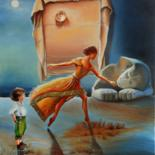 """Painting titled """"Between myth and re…"""" by Adina Lupan, Original Art, Oil Mounted on Stretcher frame"""