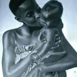 """Drawing titled """"Dear mother"""" by Ajadudraws, Original Art, Pencil Mounted on Stretcher frame"""
