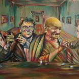 """Painting titled """"At the table with t…"""" by Alessandro Rizzo, Original Art, Oil"""
